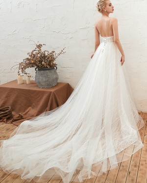 White A-line V-neck Lace Tulle Wedding Dress with Lace Up QDWD002