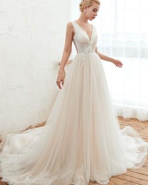 Appliqued Pleated V-neck Ivory 3D Flower A-line Wedding Dress QDWD003