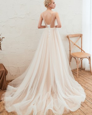 Ivory Tulle Jewel Lace Applique Wedding Dress QDWD004
