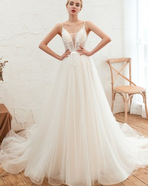 Applique Beading A-line Spaghetti Straps Pleated Wedding Dress QDWD005