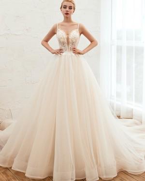Ivory Beading Spaghetti Straps Lace Bodice Tulle Wedding Dress QDWD006
