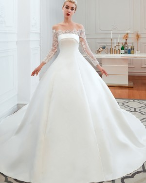 Lace Applique Satin Off the Shoulder Fall Wedding Dress with Long Sleeves QDWD007