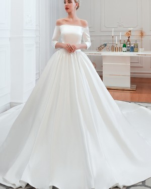 Simple Off the Shoulder Satin Long Wedding Dress with 3/4 Length Sleeves QDWD008
