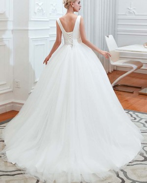 Simple White Pleated Tulle V-neck Ruched Wedding Dress QDWD009