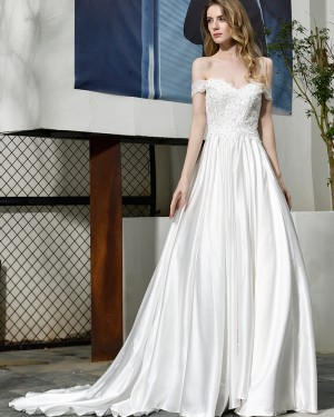 Off the Shoulder A-line White Lace Bodice Wedding Dress QDWD021