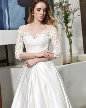 Bateau Neckline White Appliqued Satin Wedding Dress with Half Length Sleeves QDWD022