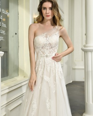 One Shoulder Lace Applique Ivory Tulle A-line Wedding Dress QDWD023