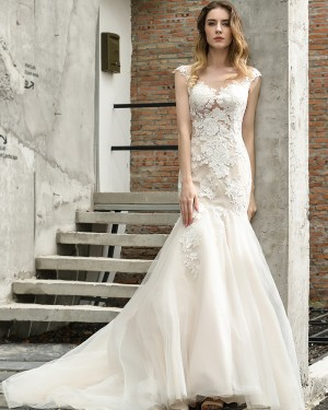 Lace Ivory Scoop Neckline Mermaid Tulle Wedding Dress QDWD024