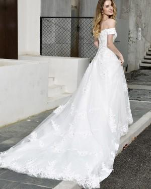 White Appliqued Off the Shoulder A-line Wedding Dress QDWD025