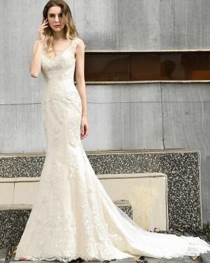 V-neck Lace Mermaid Champagne Beading Wedding Dress QDWD026