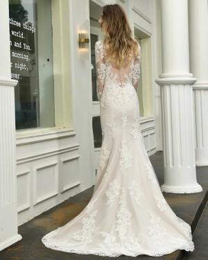 Lace Mermaid V-neck Ivory Appliqued Side Slit Wedding Dress with Long Sleeves QDWD027