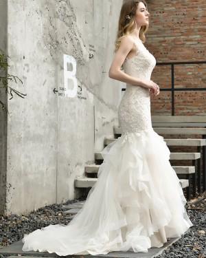 Lace Ruffled Ivory Lace Mermaid Wedding Dress QDWD028