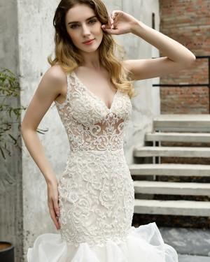 Deep V-neck Ruffled Mermaid Ivory Lace Bodice Wedding Dress QDWD029