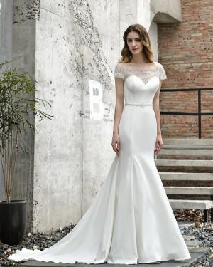 Bateau Satin Mermaid White Beading Wedding Dress with Short Sleeves QDWD030