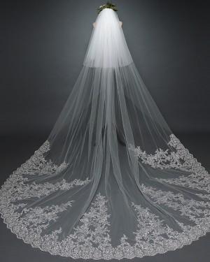 White Two Tiers Lace Applique Edge Chapel Length Wedding Veil TS17101