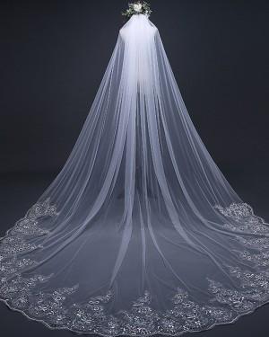White Tulle Beaded Lace Edge Chapel Length Wedding Veil TS17103
