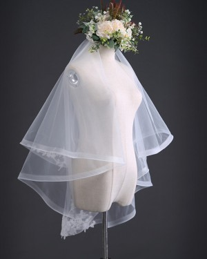 Two Tiers Tulle Ivory Elbow Length Wedding Veil with Comb TS17105