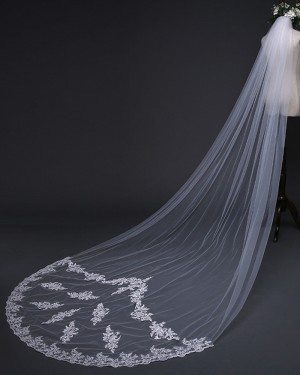 Ivory Tulle Lace Applique One Tier Cathedral Length Wedding Veil TS17126