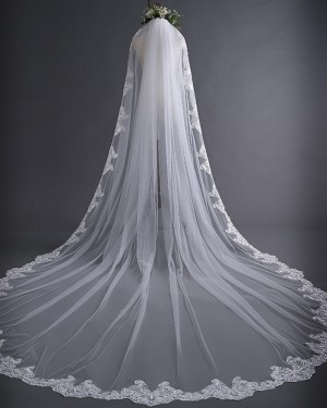 White Tulle Lace Applique Edge Cathedral Wedding Veil TS17136