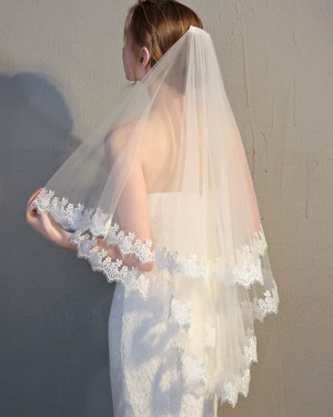 Two Tiers Lace Applique Edge Tulle Ivory Fingertip Length Wedding Veil TS17148