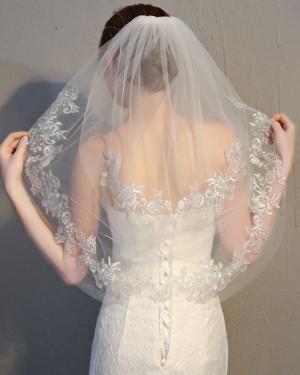 Ivory Tulle Lace Applique Edge Elbow Length Wedding Veil TS17150