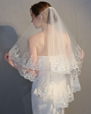 Two Tiers Tulle Applique Edge Fingertip Wedding Veil TS17152