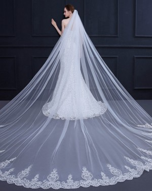 White Tulle Lace Applique Edge Cathedral Wedding Veil TS18002