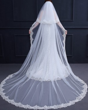 Two Tiers Lace Applique Edge Cathedral Length Wedding Veil TS18003