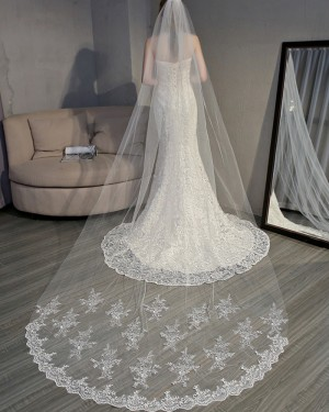 Ivory Applique Edge Chapel Length Wedding Veil TS18007