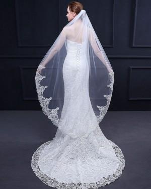 White Lace Applique Edge Waltz Length Wedding Veil TS18017