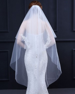 Two Tiers Ivory Lace Applique Fingertip Length Wedding Veil TS18018