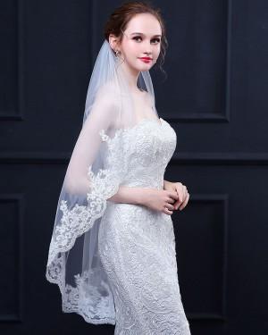 Lace Applique Edge Elbow Wedding Veil TS18020