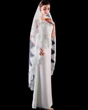 Ivory One Tier Tulle Applique Edge Waltz Length Wedding Veil TS1906