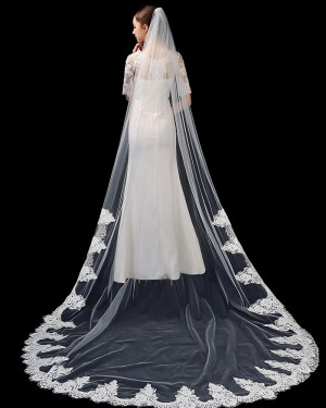Tulle Ivory One Tier Lace Applique Edge Chapel Length Wedding Veil TS1917
