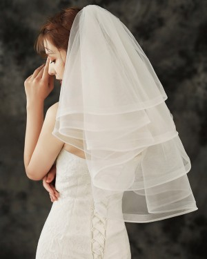 Four Tiers Ivory Tulle Shoulder Length Wedding Veil TS1920