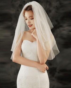 Three Tiers Beading Ivory Tulle Wedding Veil TS1921