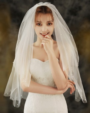 Two Tier Tulle Ivory Beaded Pearls  Elbow Length Wedding Veil with Comb TS1924