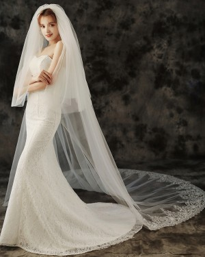 Two Tier Lace Applique Edge Cathedral Length Wedding Veil TS1926