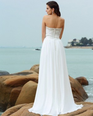 Ruched Chiffon Simple Sweetheart Beading Beach Wedding Dress WD2004