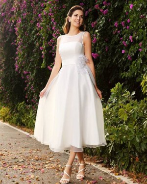 Tea Length Simple Jewel Ivory Tulle Wedding Dress with Sash WD2005