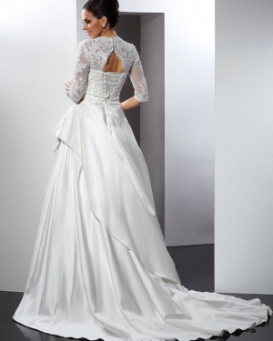 Lace Bodice Ruffled Queen Anne Satin Wedding Gown with Half Length Sleeves WD2007