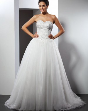 Ivory Tulle Sweetheart Beading Bodice Wedding Gown WD2008
