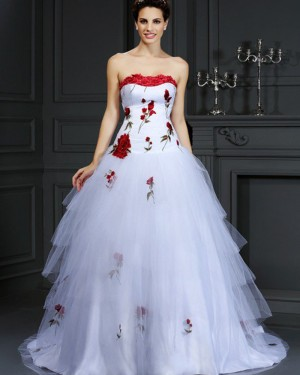 Tulle White Strapless Appliqued Layered Wedding Gown WD2009