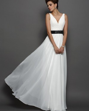 Tulle Beach V-neck Pleated Ivory Wedding Dress with Black Beading Belt WD2010