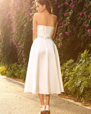 Tea Length Simple Strapless Ivory Ruched Short Wedding Dress with Beading Sash WD2011