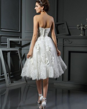 Lace Appliqued Short Sweetheart Ruched Wedding Dress with 3D Flowers WD2014