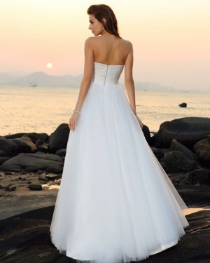 Ivory Simple Sweetheart Ruched Tulle Beach Wedding Dress WD2017