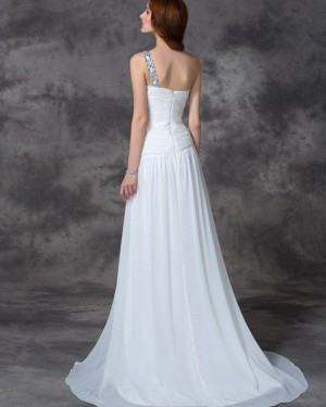 Beading Ruched White One Shoulder Chiffon Beach Wedding Dress WD2020