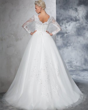 Appliqued Pleated Jewel Beading White Wedding Gown with Long Sleeves WD2021