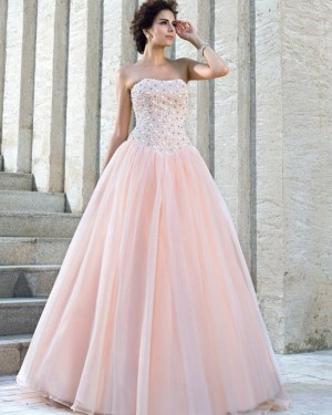 Pink Pleated Strapless Beading Bodice Princess Wedding Gown WD2023